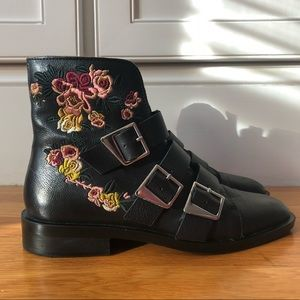 Zara embroidered buckle booties
